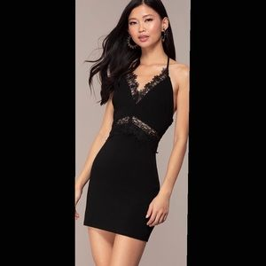 PromGirl Dresses - Mini black dress with lace detailing